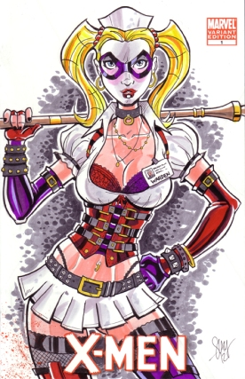 Arkham Asylum Harley Quinn Sketch Cover