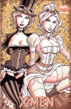 Steampunk Jean Grey Emma Frost Sketch Cover