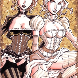 Steampunk Jean Grey Emma Frost Sketch Cover